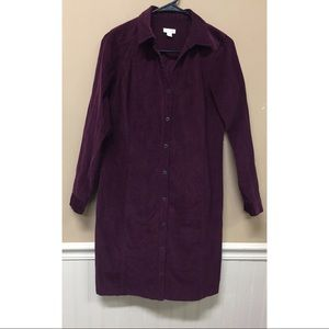 J Jill Sz XS  Corduroy Button Down Shirt Dress